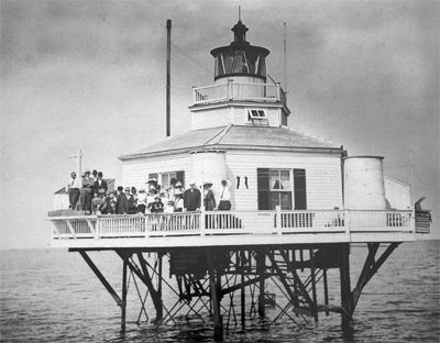 1858, Halfmoon Reef Lighthouse Port Lavaca, TX Halfmoon Reef Lighthouse suffered little damage in the 1875 hurricane that devastated Indianola and destroyed the East Shoal and West Shoal screwpile lighthouses at the entrance to Pass Cavallo