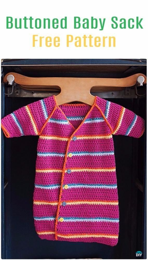 Crochet Buttoned Baby Sack Free Pattern - Crochet Snuggle Sack ...