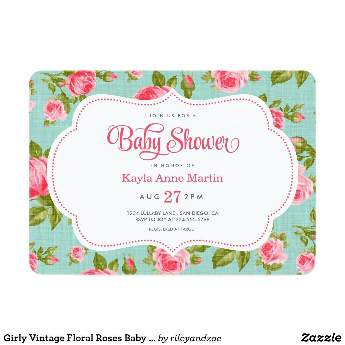 Girly Vintage Floral Roses Baby Shower Invitation | Shower invitations