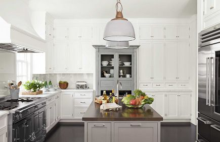 antique gray French armoire set into wall of kitchen cabinets from ...