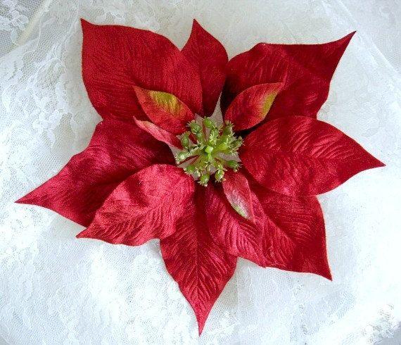 Poinsettia Velvet Flower Christmas Flower By Afloralaffair On Etsy Faux Christmas Wreaths Artificial Christmas Wreaths Holiday Decor Christmas