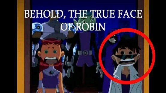 It's the only look at Robin's face without the mask we get in all of Teen Titans XD