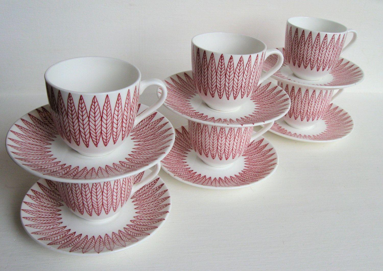 Six Vintage Gustavsberg Sweden Porcelain Red Salix by KanesVintage Cup and saucer set China