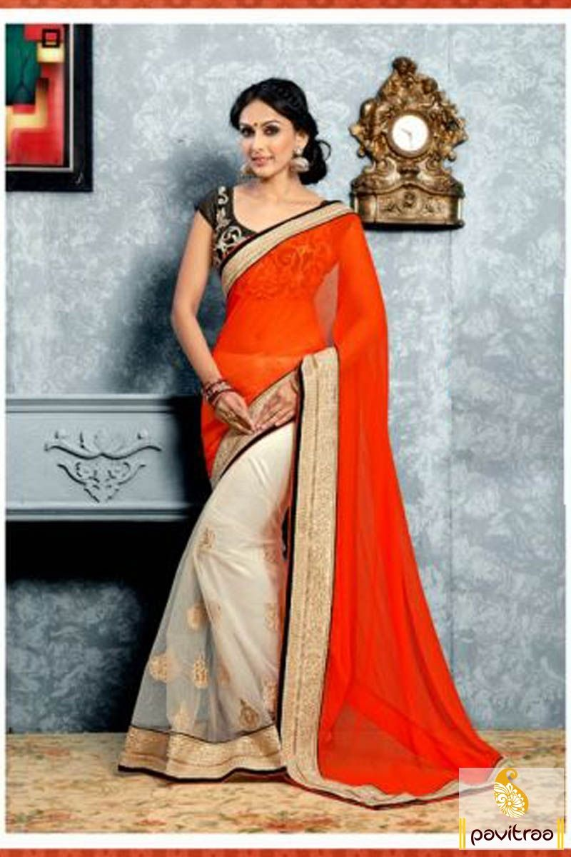 Pavitraa #Orange, Off white and #Black #Party Wear #Sarees