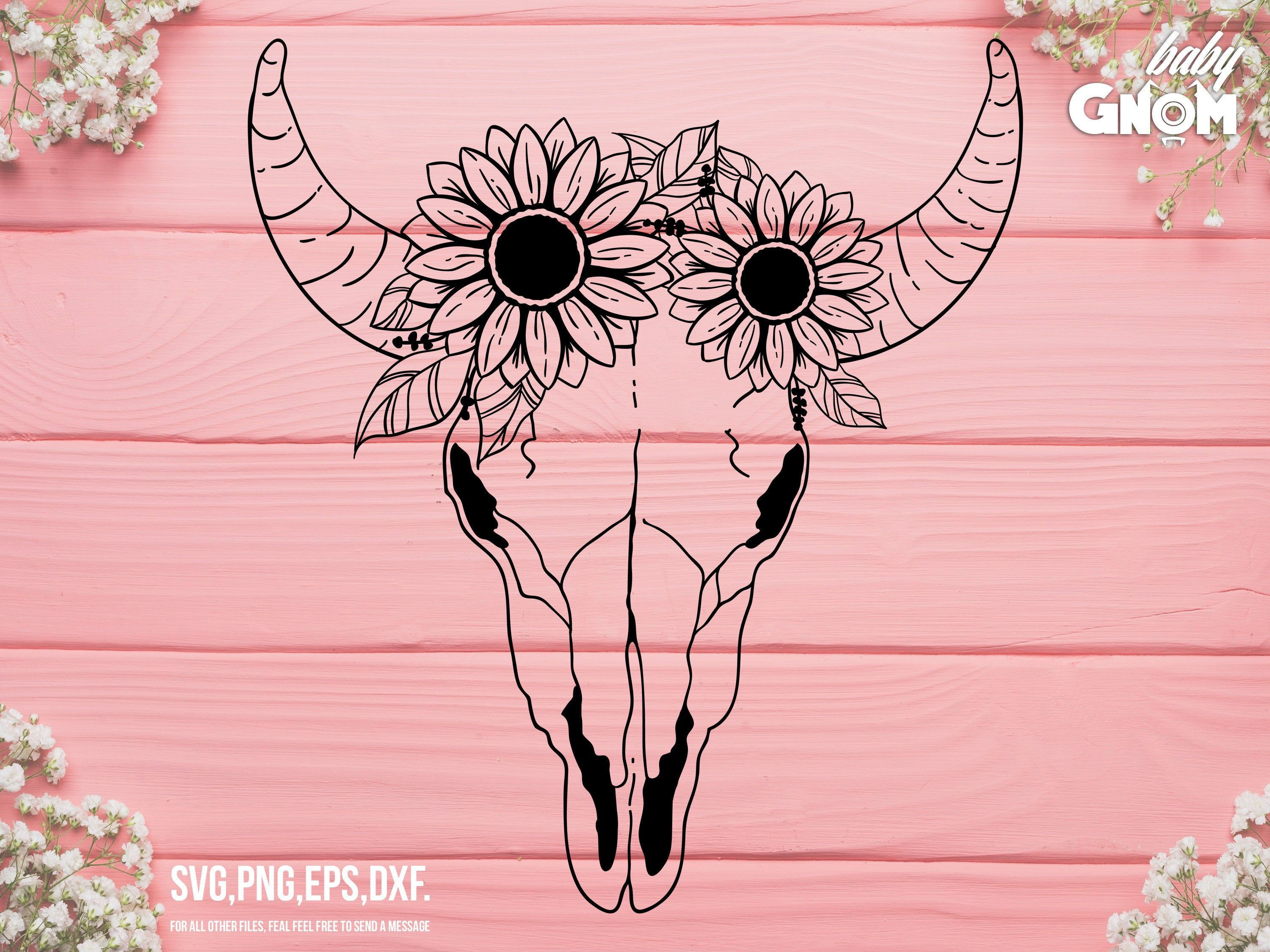 Cow Skull with Flowers SVG Cow Skull Sunflowers svg file