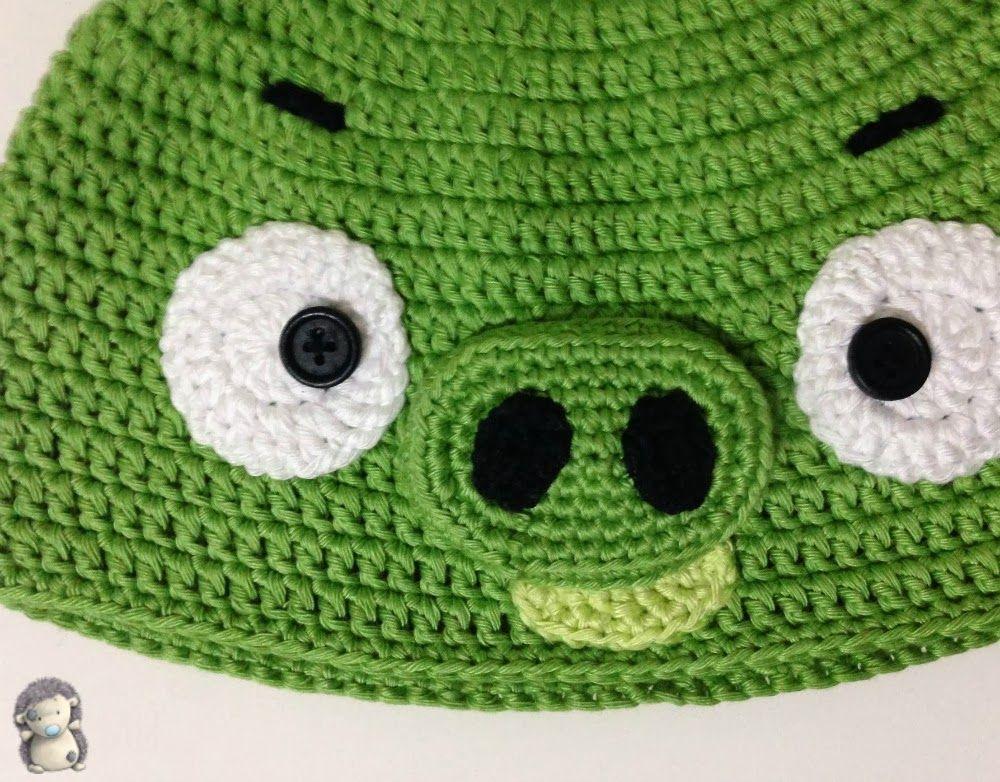 Gorro a Crochet Bad Piggy (de Angry Bird), Patrón Gratis | gorros ...