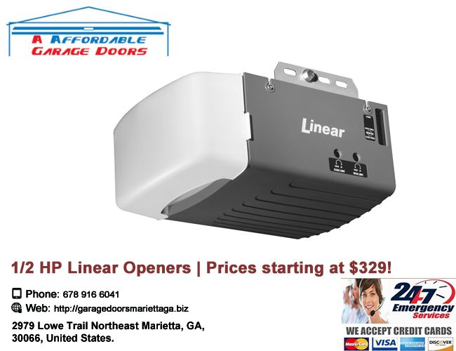 1 2 Hp Linear Garage Door Openers Available In Chain Or Belt Drive Prices Starting At 329 Comes Wi Affordable Garage Doors Garage Doors Garage Service Door
