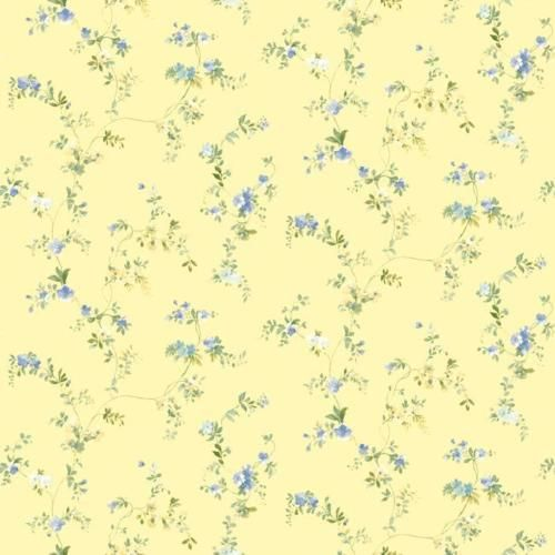 Wallpaper cottage style small floral vine on yellow background blue green flower