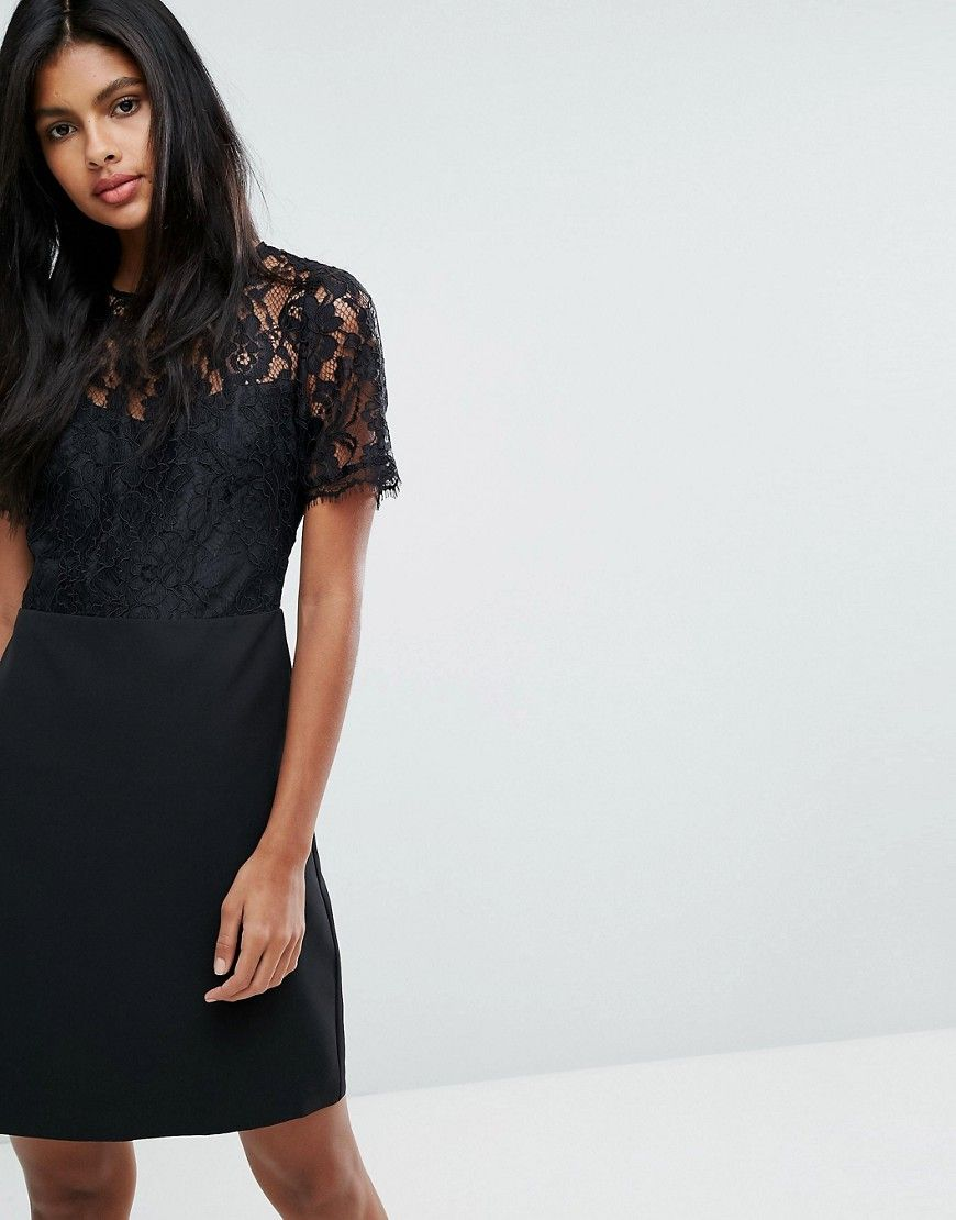 Oasis lace detail shift dress black products pinterest products