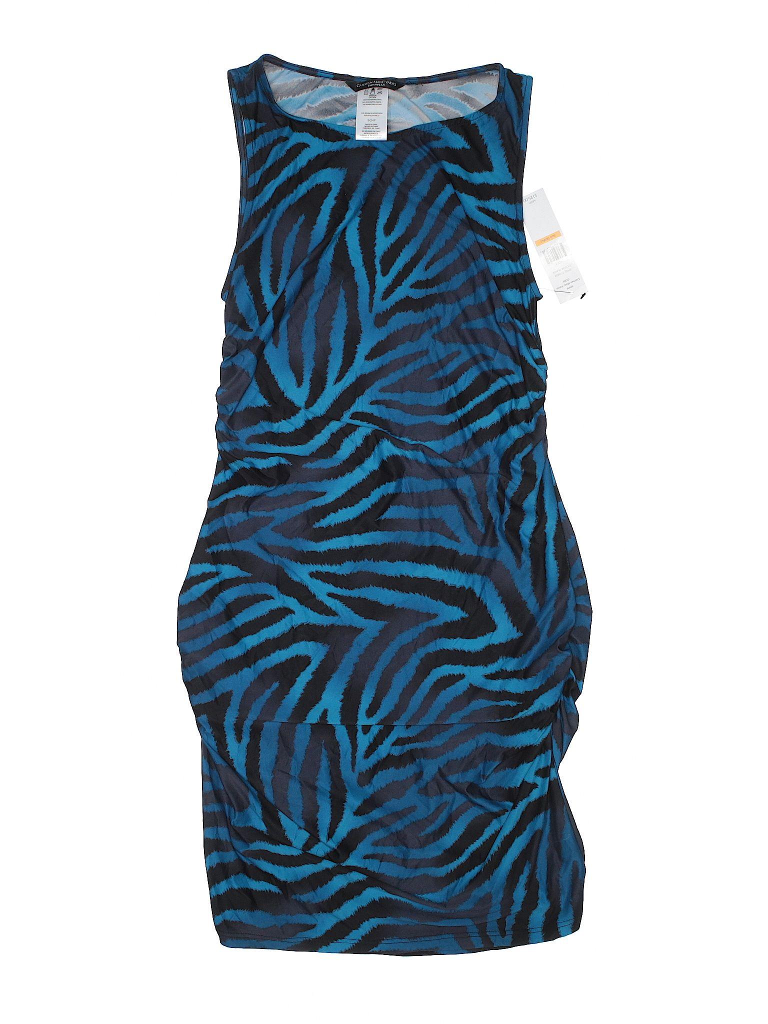 Carmen marc valvo swimsuit cover up size blue womenus swimwear