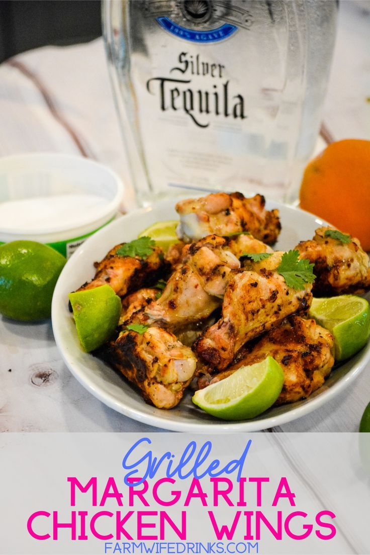 Grilled Margarita Chicken Wings are marinated in tequila, lime and orange juices, chipotle seasoning and salt and then grilled or smoked to perfection and garnished with cilantro and lime juice.