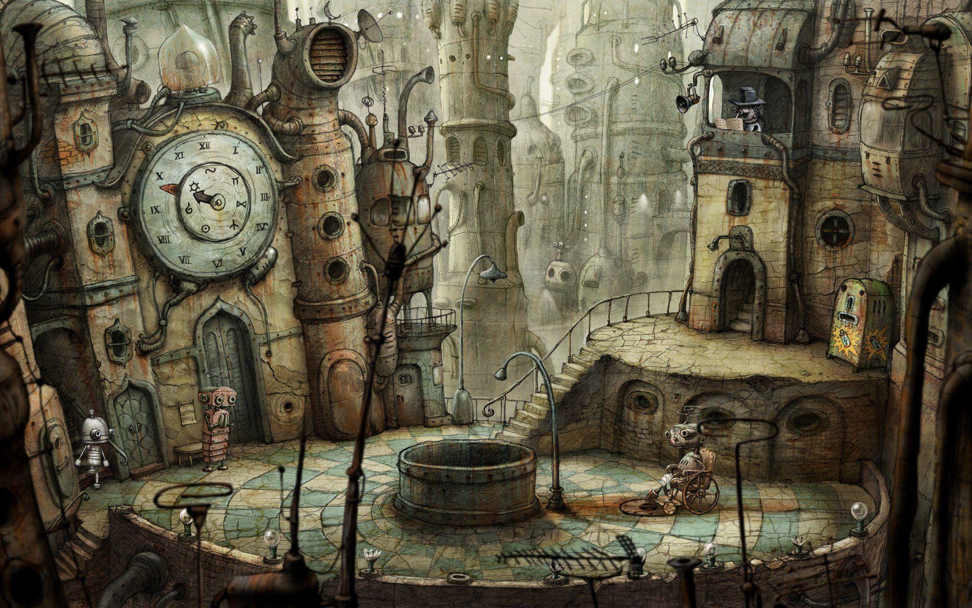 Video Game Machinarium Wallpaper Fond Ecran Paysage Ville Steampunk Art Steampunk