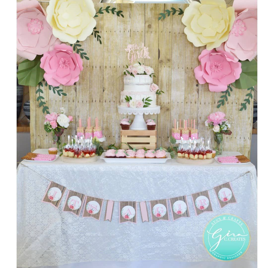 Diy Baby Shower Dessert Table With Free Paper Flower Template