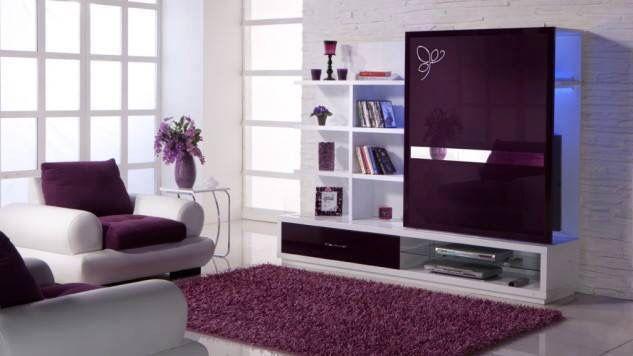 déco salon violet et gris salon Pinterest Salons, Salon gris