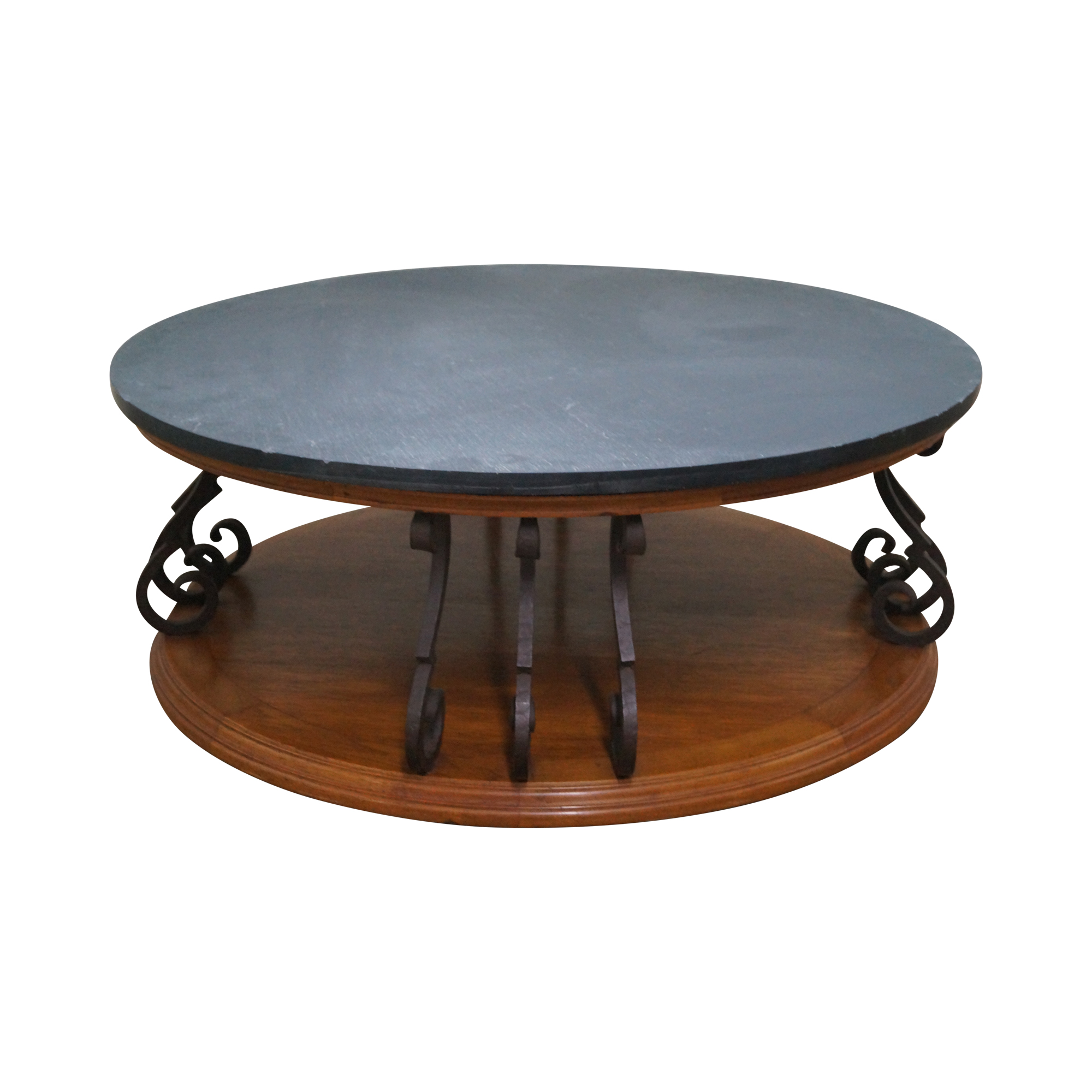 Heritage Large Round Mediterranean Style Slate Top Iron Support Coffee Table Age X2f Country Of Origin Approx 45 Coffee Table Slate Top Coffee Table Table [ 2000 x 2000 Pixel ]