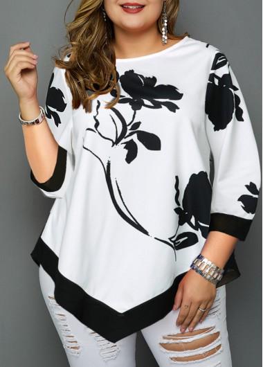 Plus Size Tops For Women Asymmetric Hem Flower Print Plus Size Blouse