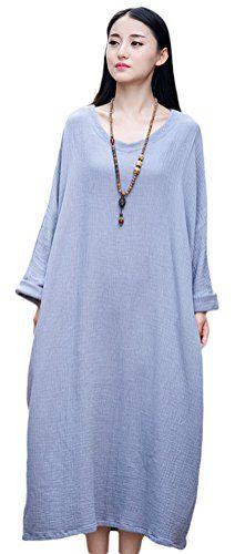 2a5d029b87 Soojun Womens Casual Cotton Linen Long Dress with Batwing Sleeve Style2  Grey One Size -- Check out this great product.