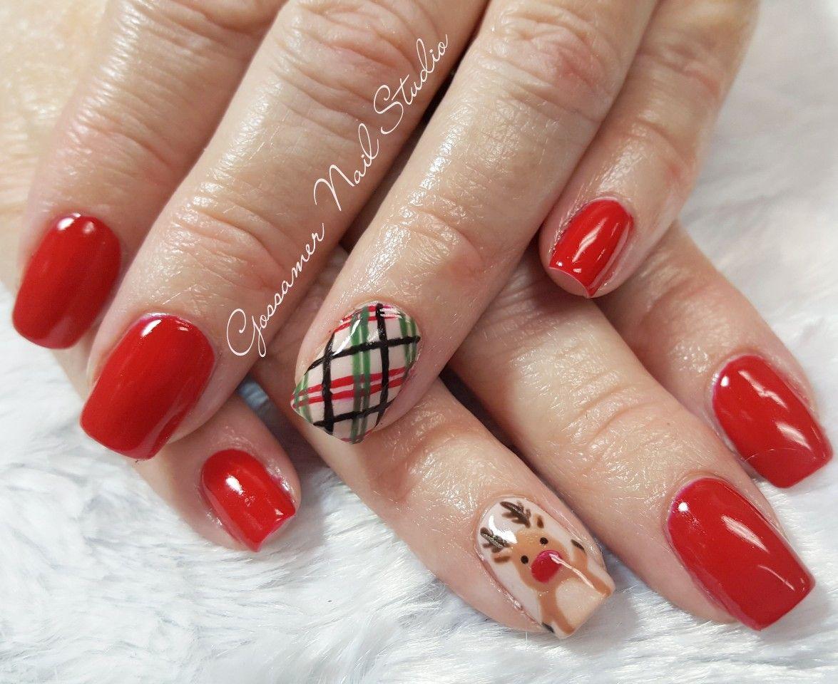 Cnd Shellac Nail Art By Gossamer Nail Studio Plaid Reindeer Red