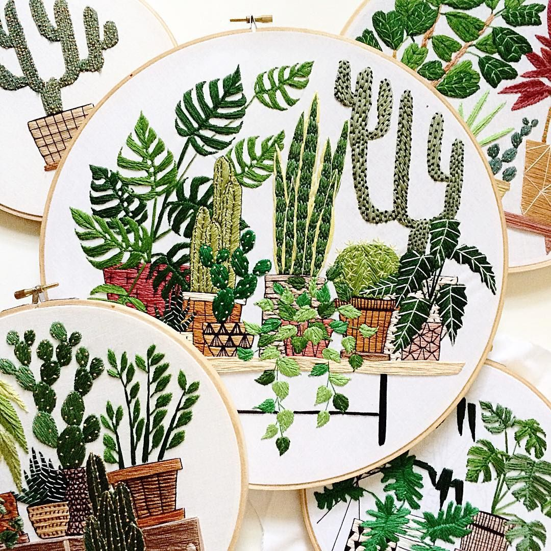 Sarah benning contemporary cacti embroidery uart pinterest