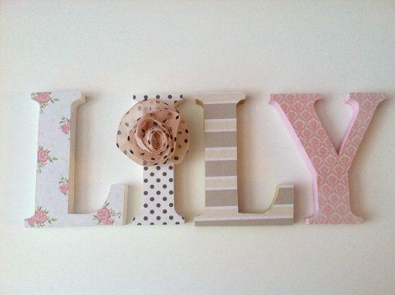 Wooden Letters For Nursery In Pink Tan Black And By Summerolivias Letras De Madera Letras De Madera Decoradas Decoracion De Letras