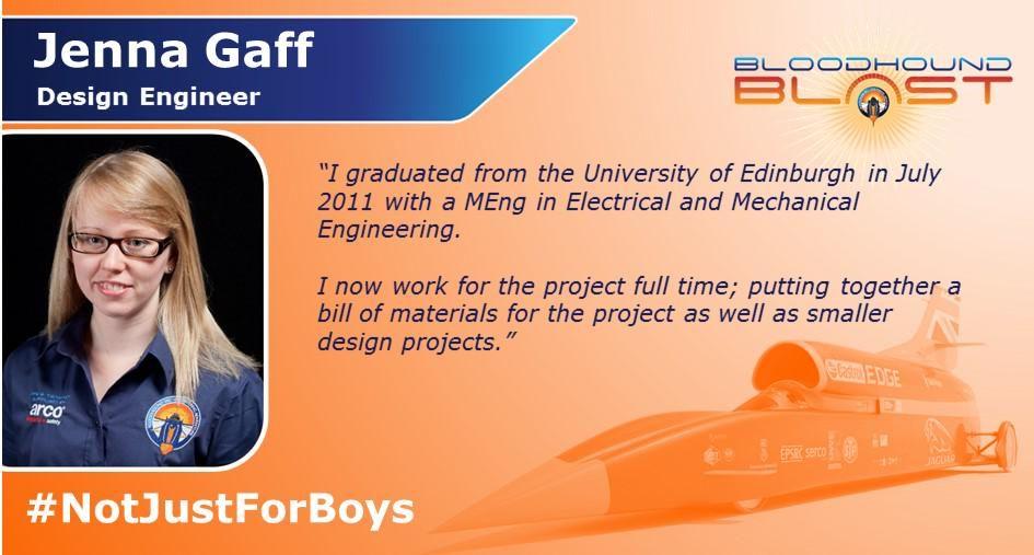 @BLOODHOUNDBLAST Engineering is #NotJustForBoys meet @jengaff_ssc @BLOODHOUND_SSC Design Engineer http://bit.ly/1BZLiPr  #IWD2015