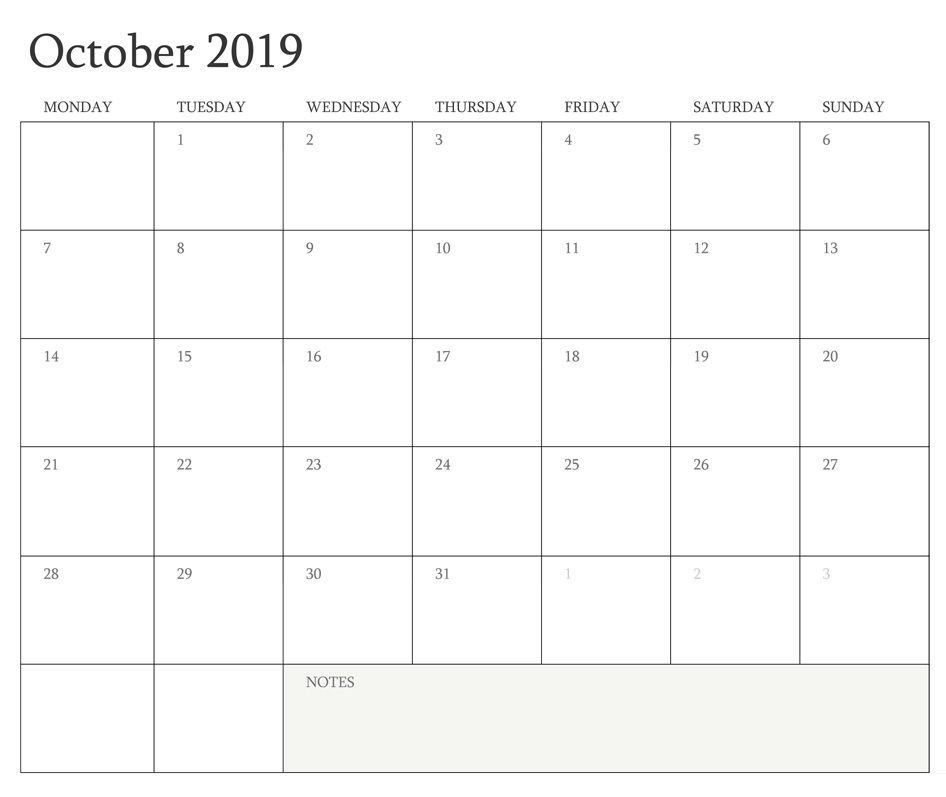 October 2019 Blank Calendar Calendar 2018 in 2018 Pinterest