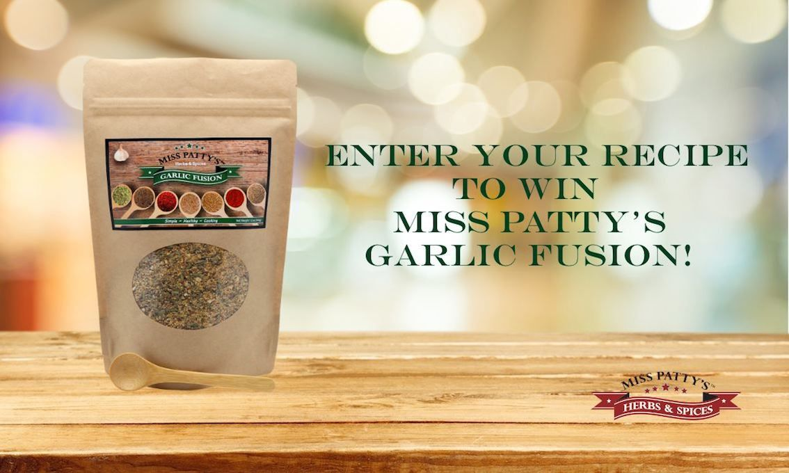 Enter for your chance to win Miss Patty's Garlic Fusion! Submit your recipe to info@misspattysspices.com by Friday, October 30 to be entered in the contest! Visit us at https://www.facebook.com/misspattysspices to learn more!