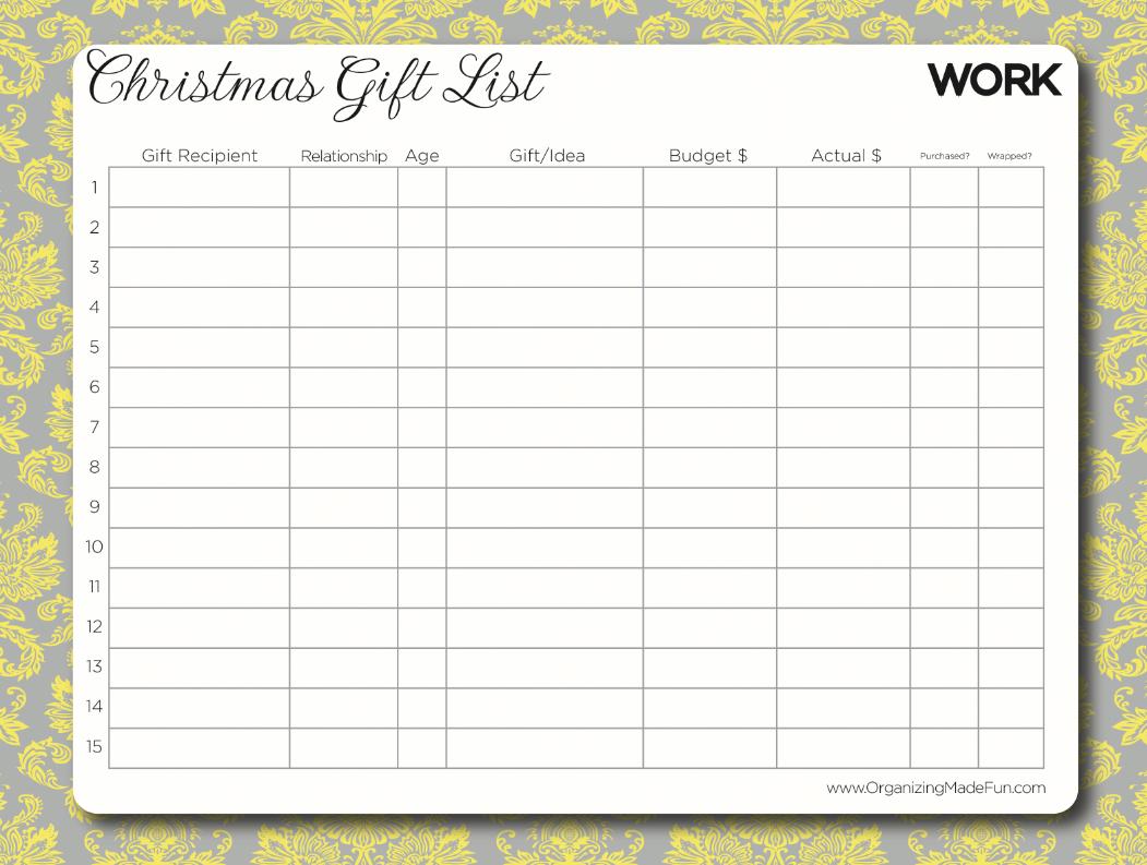 printable christmas gift list template