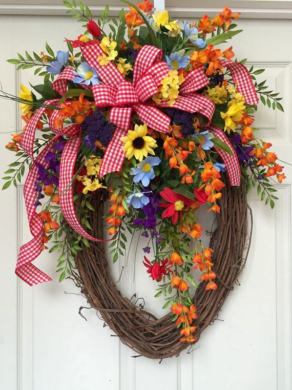 Bright Spring And Summer Oval Grapevine Wreath By Williamsfloral With Images Easter Spring