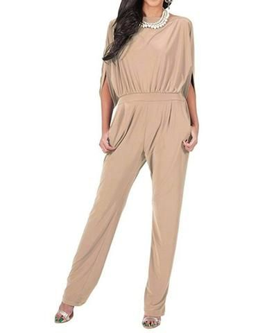 Women/'s Girl/'s Casual Jersey Jumpsuits V neckline with paneled and concealed zip