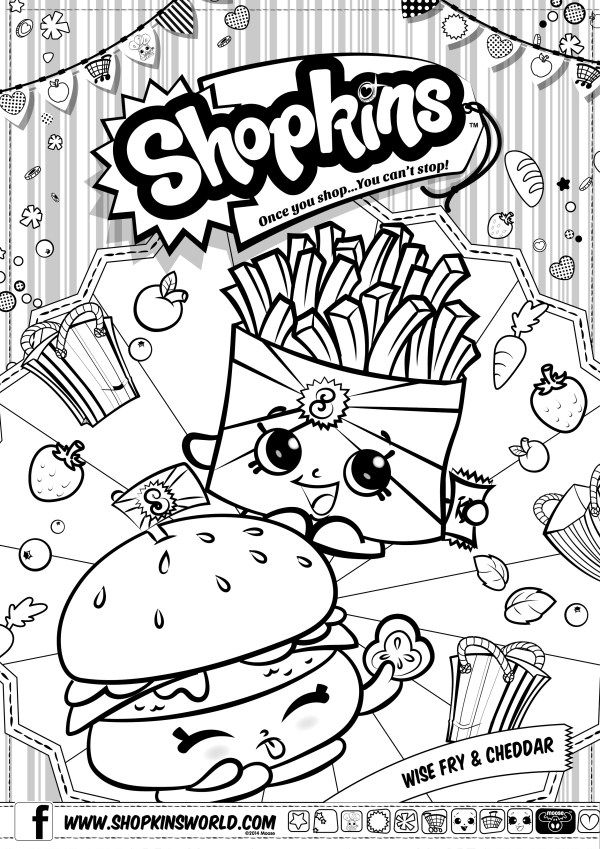 Shopkins Coloring Pages Season 3 Wise Fry Cheddar Shopkins