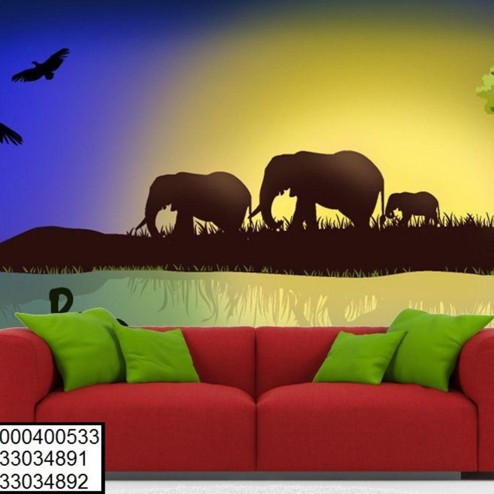 ورق حائط 3d ورق جدرن غرف نوم ديكور Wallpaper Elephant Animals