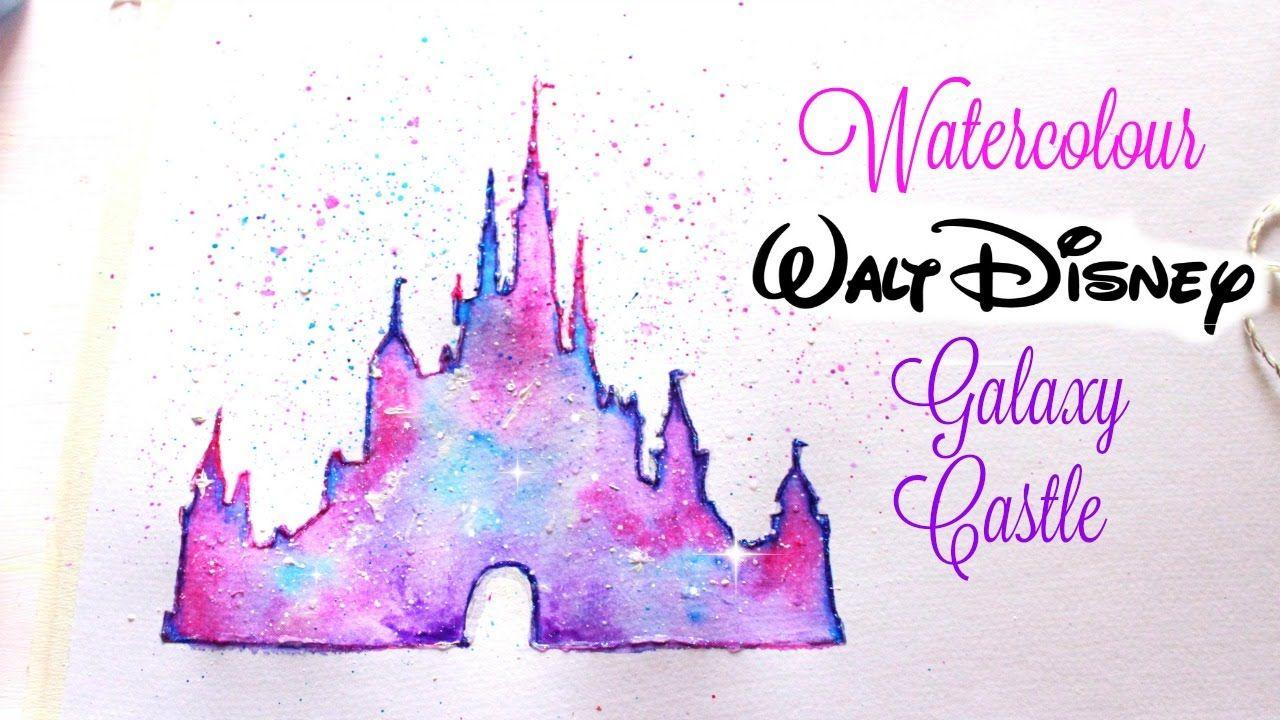 Simple Walt Disney Castle Galaxy Watercolor Tutorial Disney