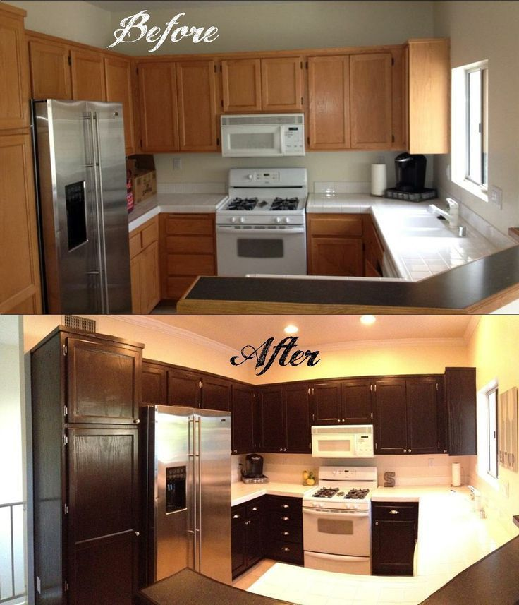 Gel Staining Kitchen Cabinets Stained Cabinets On ...