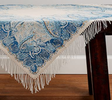 Sashi Paisley Fringed Table Throw Table Throw Velvet