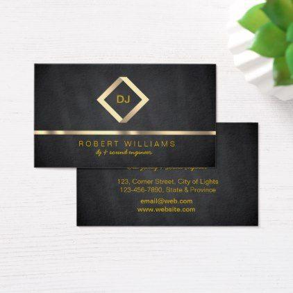 DJ Deejay Professional Gold Faux Music Business Card ...