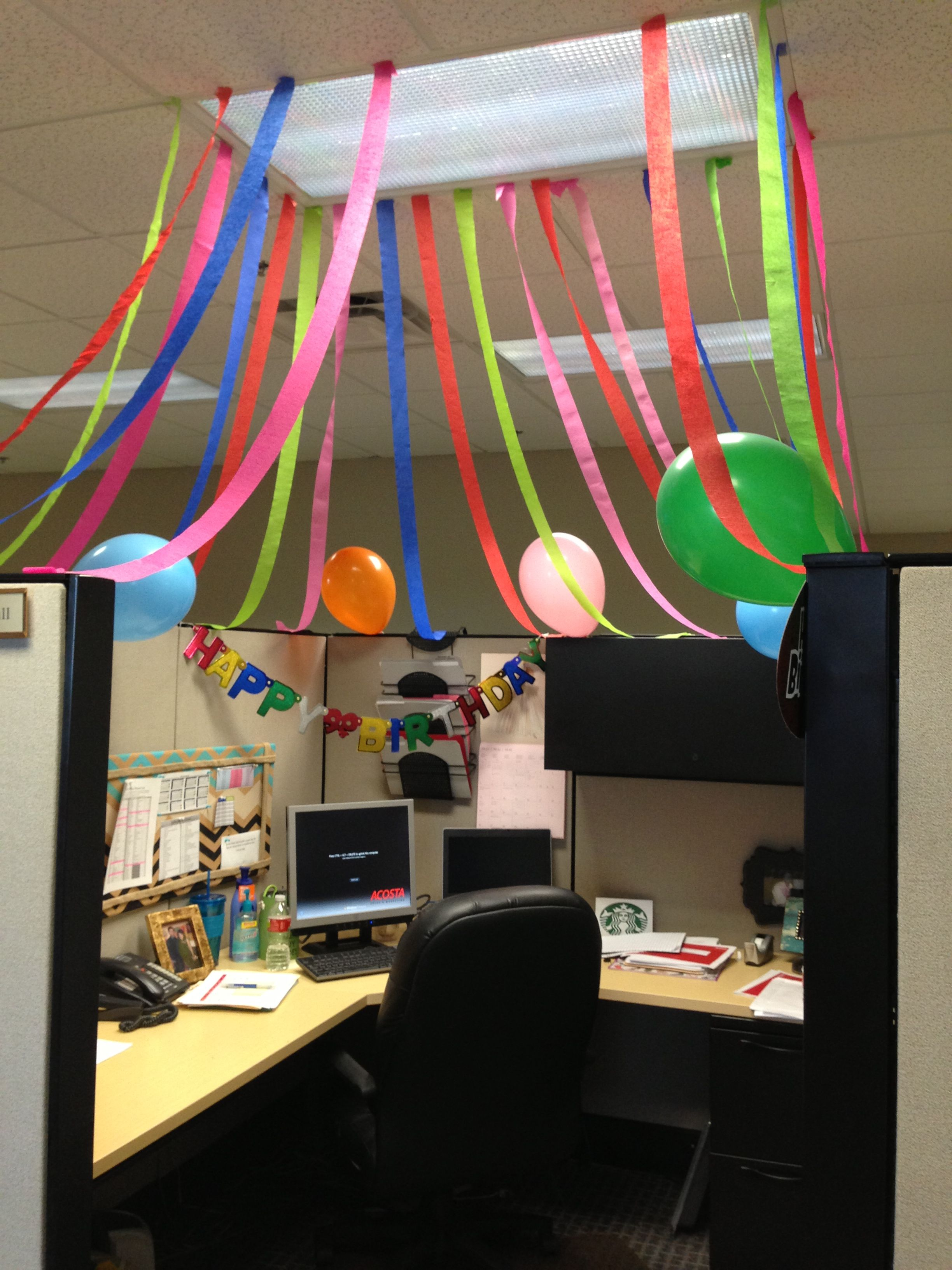 Office Cube Birthday Celebration Cubicle Birthday Decorations Office Party Decorations Office Birthday