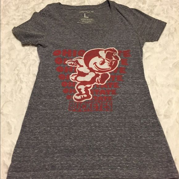 American Eagle Ohio State Tee College Vault Tee Shirt by American Eagle.  Dark marled gray with Scarlet and white Brutus.  Size Large, but VERY fitted.  Fits more like a medium. EUC. American Eagle Outfitters Tops Tees - Short Sleeve