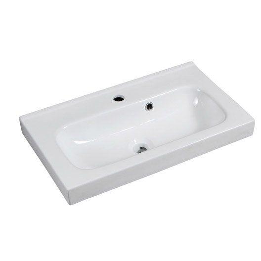 Plan Simple Vasque Sensea Remix Ceramique Blanc L61xl14xp35 Cm