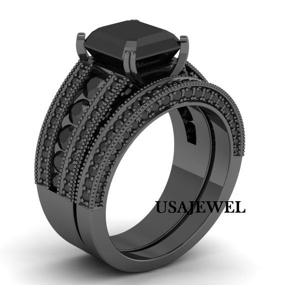 Emerald Cut Engagement Ring Set 3.20 Ct Lab Made Black Moissanite Bridal Ring Set 925 Sterling Silver 14K Black Gold Finish Wedding Ring Set