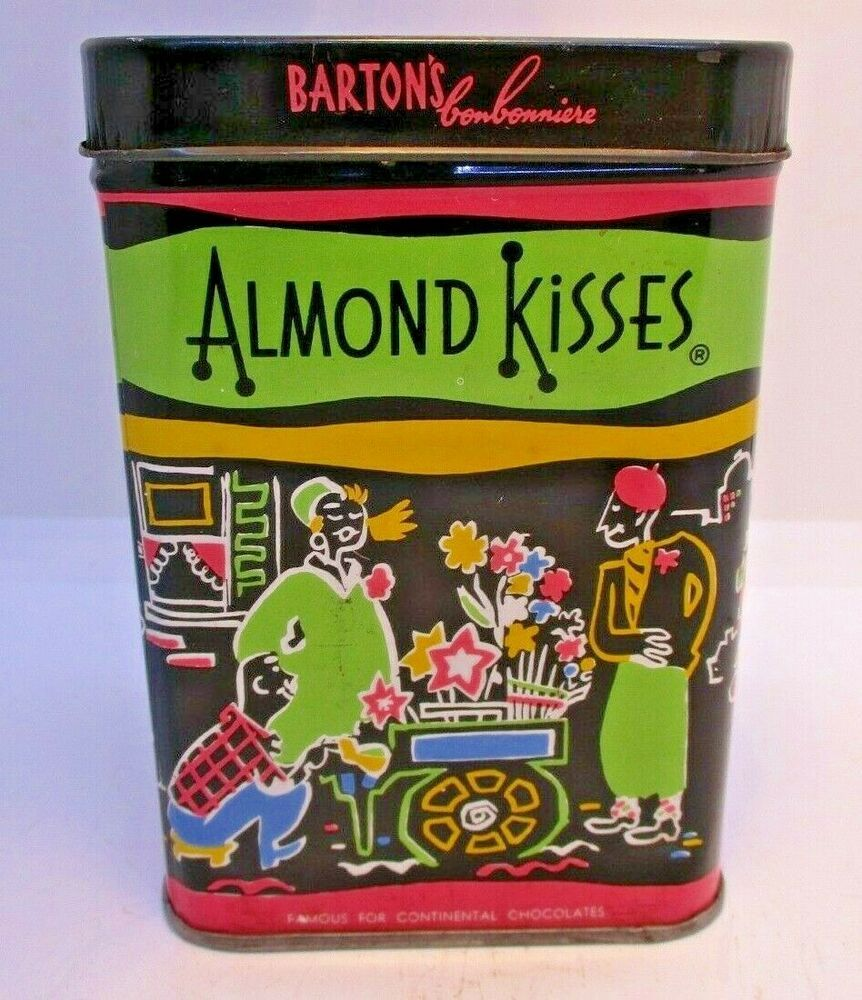 1950 S Barton S Almond Kisses Candy Tin Parisian Street Graphics