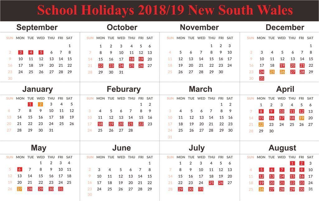 Yearly Calendar 2019 Template With Nsw Holidays Nsw New South Wales 2019 School Calend In 2020 School Holiday Calendar Calendar 2019 Template Holiday Calendar
