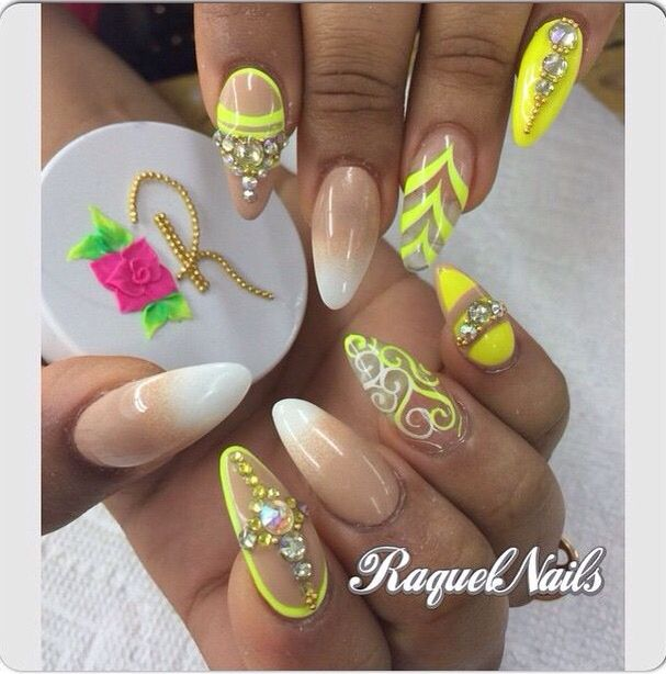 Nude #SilverStuds #White #Yellow #Stripes #CatNails | Nails And Toes ...