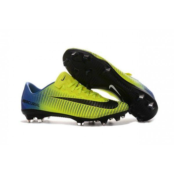 Chaussures de Football - Nouveau Nike Mercurial Vapor 11 FG Jaune Noir Bleu