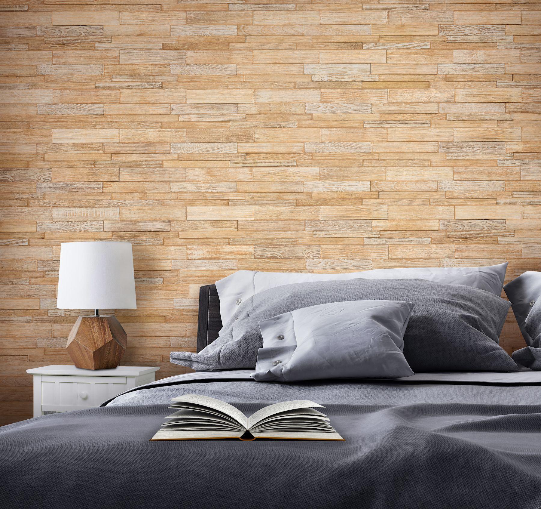 Indonesian Teak Linear Wood Wall Tile Whitewash Finish