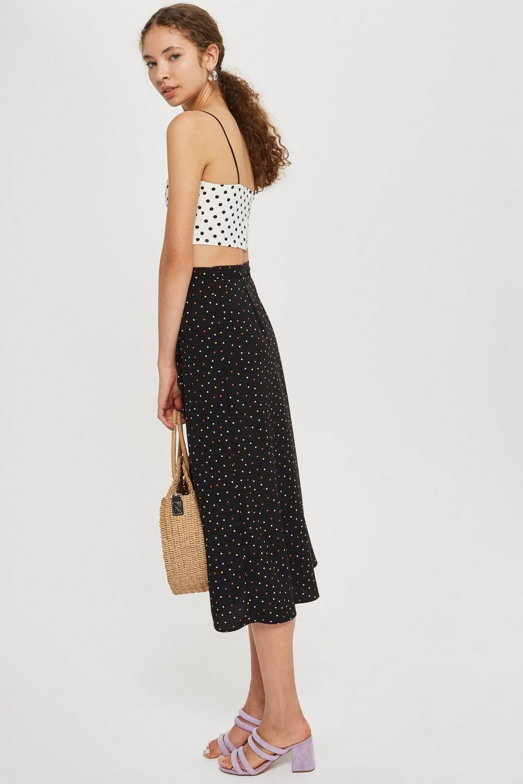 696241f246 Multi Spotted Button Midi Skirt | 2 0 1 8 | Midi Skirt, Buttons, Skirts