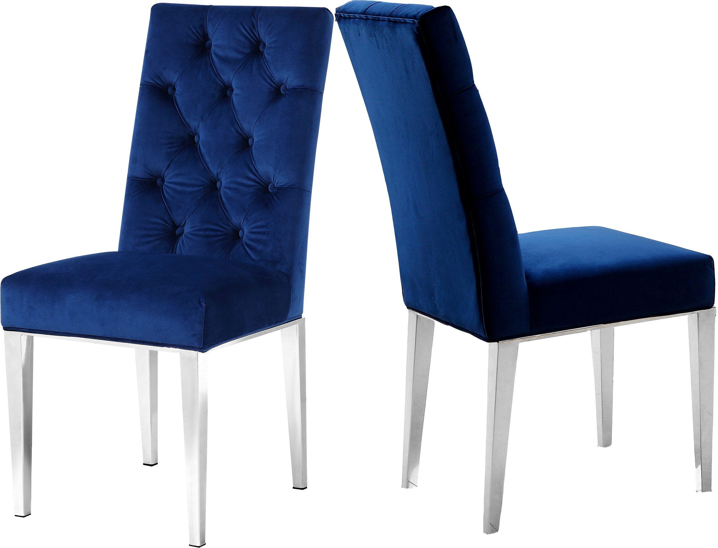 Lowest Price On Meridian Juno Navy Velvet Dining Chair Set Of 2 732navy C Shop Today Velvet Dining Chairs Dining Chair Upholstery Dining Chairs