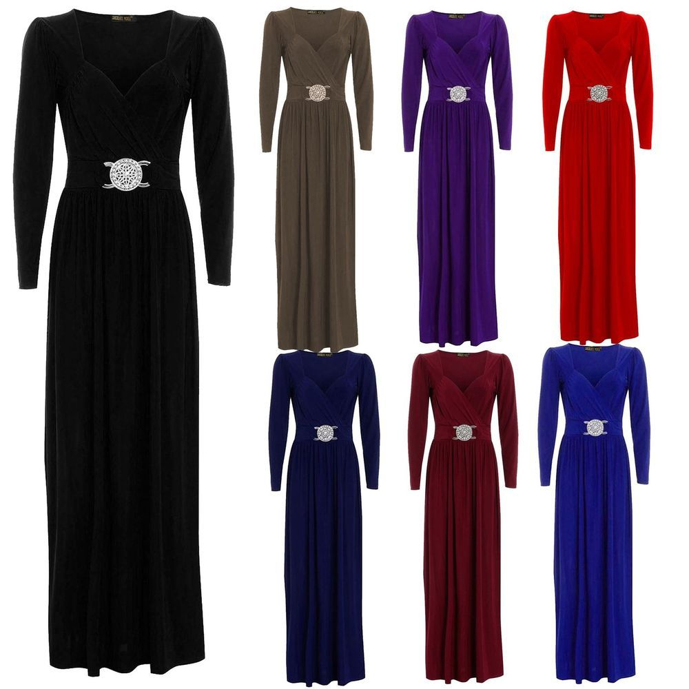 Details about new womens long sleeve wrap over buckle long maxi