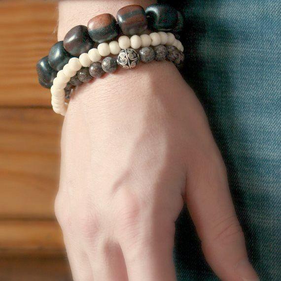 Men's Square Brown Wood Stretch Bracelet Bohemian Jewelry