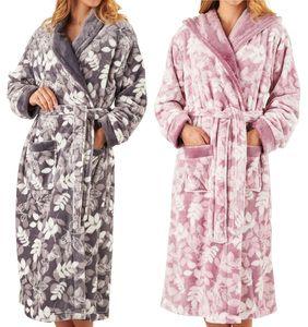 Slenderella Leaf Print Shawl Collar Dressing Gown (Grey or Pink ... 8f6f03d3b